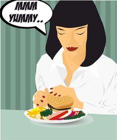 Love burger like Mia Wallace❤️   Tarantino Pulp fiction Vector illustration