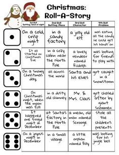 Christmas: Roll-A-Story christmas LanguageArts, christmas languagearts story 699113542141302644 Holiday Games, Christmas Party Games, Holiday Activities, Writing Activities, Holiday Fun, Teaching Resources, Christmas Holidays, Christmas Crafts, Dinner Party Games