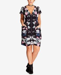 8db355e332e City Chic Trendy Plus Size Printed Zip-Front Dress Plus Sizes - Dresses -  Macy s