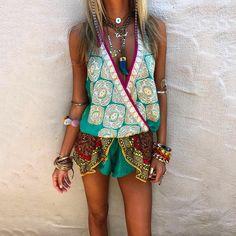 Boho Outfits, Summer Outfits, Fashion Outfits, Hippy Chic, Boho Chic, Off Shoulder Romper, Estilo Hippie, Jaipur, Moda Boho