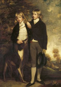 Portrait of the Hon. John Cust, later Earl Brownlow on the right, and the Hon. Henry Cust by John Hoppner, RA, in the Breakfast Room at Belton House. ---- Biscuit Holloway & T. Belton House, Greyhound Art, Art Uk, Your Paintings, Dog Art, Family Portraits, 18th Century, Art History, The Past