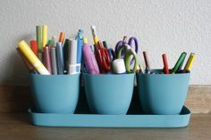 Simplify and organize kids art supplies from http://FrugalLivingNW.com