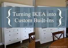 The Charming Nest--Ikea hack, Hemnes cabinets turned into a built-in