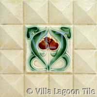 Antique reproduction Art Deco tiles from Villa Lagoon Tile. You get the three dimensional look of the original collector relief tiles but on a flat smooth surface satin finish tile. Art Nouveau, Art Deco Tiles, Decorative Tile, Three Dimensional, Art Reproductions, Belgium, Villa, Creativity, Plate