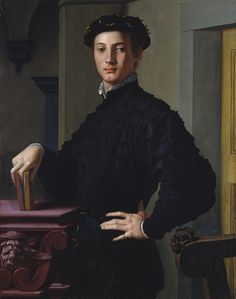 1530s Bronzino (Agnolo di Cosimo di Mariano): Portrait of a Young Man. Oil on wood. Florentine Mannerism.