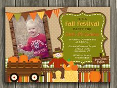 Printable Pumpkin Birthday Photo Invitation   October/Fall Birthday   Harvest Party   Hay Ride   Kids Birthday Party Idea   FREE thank you card included   Become a loyal fan on Facebook to receive freebies and see the latest designs! www.facebook.com/DazzleExpressions