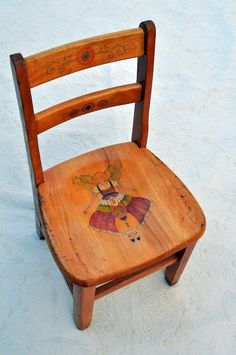 Fairy Chair Hand Painted Vintage Kindergarten by vickismithart