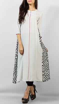 White Ladies Cotton Kurti by PakRobe.com