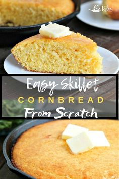 Fluffy and Golden, this Skillet Cornbread is a cinch to make, and is fantastic side for any meal! A tender and delicious crumb means no leftovers! Bakery Recipes, Cooking Recipes, Skillet Recipes, Cooking Food, Breakfast Recipes, Dessert Recipes, Yummy Recipes, Shrimp Recipes, Pork Recipes
