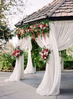 Floral Tie-Back for wedding ceremony backdrop - outdoor wedding ceremony - Check our more floral wedding inspiration on WeddingWire! {Good Times} Wedding Flower Arrangements, Wedding Flowers, Wedding Day, Wedding Dresses, Wedding Reception Decorations, Table Decorations, List Of Flowers, Big Day, Good Times