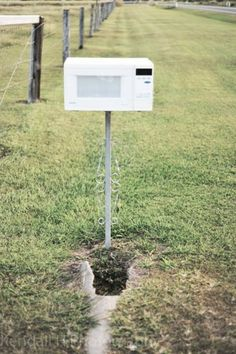 haaa...recycled microwave as mailbox - oh this made me think of your purple microwave!!!  @Cathy Robinson