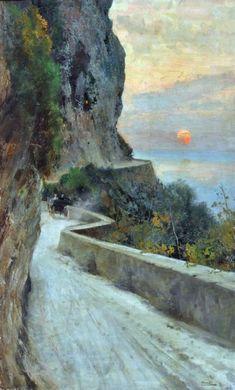 Capri   -   Pratella Attilio     Italian, 1856 -1949    oil on canvas,  104,5x64 cm.