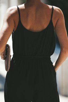 454802734e5b Backless tether deep V-neck sling jumpsuit-Black