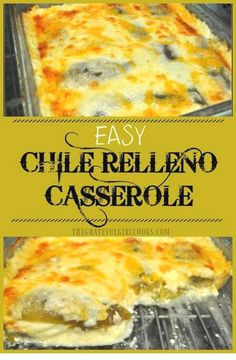 Easy Chile Relleno Casserole - The Grateful Girl Cooks! This scrumptious chile relleno casserole is easy to make, is vegetarian, and has all the Southwest flavors of the traditional dish, but it is is baked, not fried! Authentic Mexican Recipes, Easy Mexican Dishes, Traditional Mexican Dishes, Indian Dishes, Vegetarian Recipes, Cooking Recipes, Healthy Recipes, Cooking Tips, Delicious Recipes