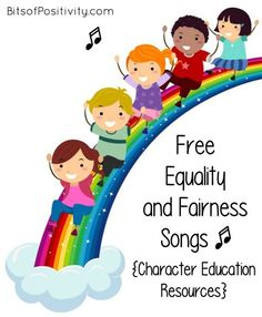 Equality, one of the Paralympic values, is the focus of these songs about equality and fairness. Here are character education songs for a variety of ages - Bits of Positivity Values Education, Character Education, Alphabet Activities, Activities For Kids, Initial Wall Art, Daycare School, Kindness Projects, Montessori, Early Literacy