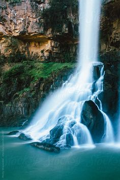 Long Exposure Waterfall in a rocky amphitheatre by Micky Wiswedel - Waterfall, Landscape - Stocksy United Cool Pictures Of Nature, Beautiful Photos Of Nature, Nature Photos, Amazing Nature, Beautiful Places, Beautiful Pictures, Road Photography, Live Picture, Take Better Photos