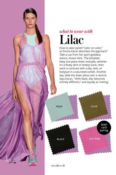 2014: Spring/Summer: Color Charts from InStyle Magazine #whattowearwith Lilac
