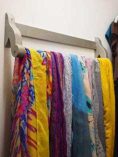 So smart!  Simple scarf storage using a towel bar! From @Stuff Magazine Parents Need