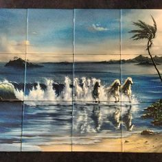 Waves galloping picture tile mural at tilemuralstore.co.uk #horses #kitchendecor #horseriding Glass Splashbacks, Make Pictures, Waves, Painting, Art, Art Background, Painting Art, Kunst, Paintings