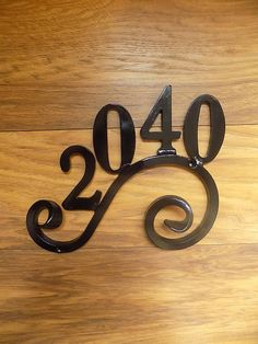 hand Made Wrought Iron Forged Steel 4 Number House Plaque