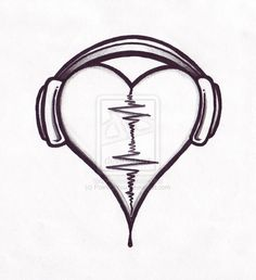 Audio Heart Tattoo Design By Pointofyou Designs Home.Use the Audio of a loved one for the wave form! Simple Audio Heart Design (Louis' tattoo before he had it covered) Music Heart Tattoo In the past 12 monthss, tattoos were regarded as a type of riot. Music Drawings, Pencil Art Drawings, Tattoo Drawings, Drawing Sketches, Sketching, Drawing Poses, Drawing Art, Sharpie Drawings, Drawing Animals