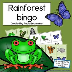 Students will enjoy learning and reviewing facts about 12 rainforest animals with Rainforest Bingo. There are two sets of 24 bingo boards: a full color version, and an ink saving version. The featured animals are:gorilla, red-eyed tree frog, macaw, orangutan, cockatoo, anaconda, leaf cutter ants, blue morpho butterfly, piranha, panda, tiger and toucan. TpT $ Rainforest Theme, Rainforest Animals, Rainforest Activities, Rainforest Classroom, Preschool Jungle, Preschool Science, Preschool Lessons, Morpho Butterfly, Blue Morpho