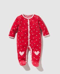 Pijama de bebé niña Cotton Juice en rojo con topos