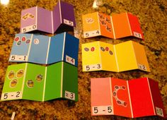 Subtraction flash cards from paint chip cards.  LOVE!!! #kinderchat