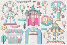 Theme Park includes 30 theme park inspired designs, perfect for prints, kids giftware and patterns! Drawing For Kids, Art For Kids, Disney Logo, Cartoon Pics, Cartoon Picture, Park Pictures, Cute Clipart, Whimsical Art, Amusement Park