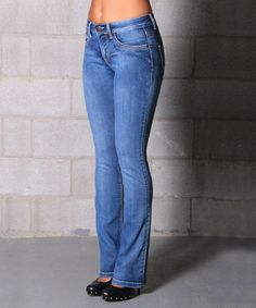 Take a look at the Lola Jeans Indigo Light Wash Lauren Bootcut Jeans on #zulily today!
