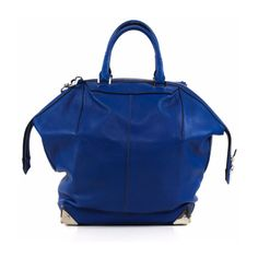 Pre-Owned Royal Blue Leather Purse ($515) ❤ liked on Polyvore featuring bags, handbags, blue, blue handbags, alexander wang handbags, man bag, hand bags and leather man bags