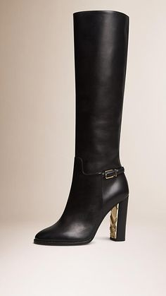 Black Knee-high Leather Boots - Image 1