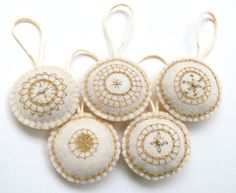 100% hand embroidered and hand sewn Christmas ornaments or decoration. Set of 5. Made of white felt, stuffed with polyfill. I embroidered them with tiny stitches. All my items are coming from a...