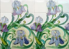 """c.1905 Spectacular Hemiksem Belgium Art Nouveau 12 or 24 Tile Iris Panel, $1320. Rescued by experts from a house due for demolition in Belgium (see image) come these spectacular and original Heimixen Art Nouveau iris tiles. Relief moulded with vibrant colours, each panel consists of 12 tiles (3 long x 4 high) which is then repeated, measurements per panel are 18"""" long x 24"""" high. Condition: typical light glaze crazing; one or two tiny nicks to high points and edges; no cracks, chips, or hair..."""