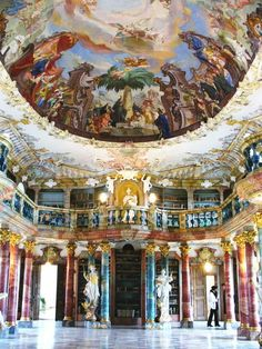 The Library Hall (Bibliothekssaal) of Wiblingen Monastery near Ulm, Germany