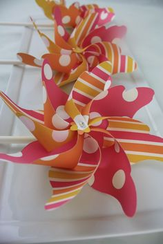 Custom Printed Pinwheels Spinning  - Birthday Favor - Made to Order - Hundreds of Paper Options - Set of 8 Handheld Peony. $26.00, via Etsy.