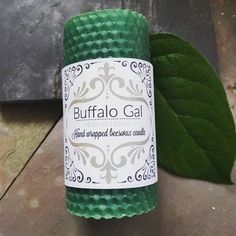 GREEN  hand wrapped Beeswax Candle // Unscented // Buffalo Gal Home Collection by BuffaloGalOrganics on Etsy