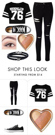 """Outfit #22"" by unicornicamitha on Polyvore featuring Miss Selfridge, Boohoo, Converse, Too Faced Cosmetics and Phillip Gavriel"