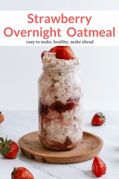 Filling and nutritious strawberry overnight oats that taste just like strawberry shortcake. Easy to make, super filling, and a great make-ahead healthy breakfast. #breakfast #kidfriendly #makeahead #quickandeasy Strawberry Overnight Oats, Overnight Oatmeal, Good Healthy Recipes, Delicious Vegan Recipes, Healthy Snacks, Vegetarian Recipes, Healthy Eating, Healthy Breakfast Dishes, Breakfast Ideas