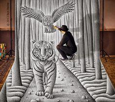 Un increible dibujo 3D (tigre, búho, hombre) El pintor belga Ben Heine lleva realizando desde hace tiempo una serie de dibujos llamada El l...