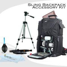 Vivitar Professional Photo  DSLR  Laptop  Accessories Sling Backpack Case For Nikon Df D5500 D5200 D5300 D3400 D3300 D3200 D7100 D610 DSLR and Blackmagic Pocket Cinema Camera  50 Inch Tripod  *** Click on the image for additional details.