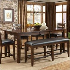 Standard Furniture Abaco Counter Height Dining Table with Leaf in Tobacco Brown