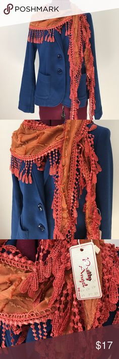 Kerchief scarf fringe Boho Crochet embroidery Beautiful fringe scarf in a vibrant red orange color. Nice of fine detailing for the embroidery and tapers to the end. There are so many ways to wear this! Accessories Scarves & Wraps