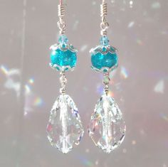 Sparkly Blue glass and Clear Teardrop Crystal on Sterling Silver Earrings