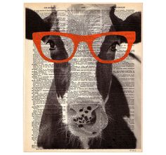 Pretty COW Glasses ORIGINAL Art Print Farm Animal Vegan Mixed Media Paint Illustration on Upcycled Antique English Dictionary Book Page 8x10. $10.00, via Etsy.