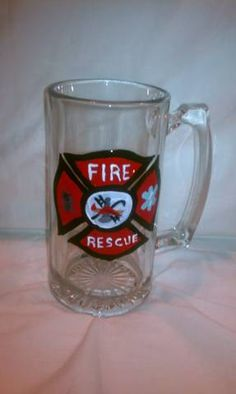 SALE 25% OFF Hand Painted 36oz Fire & Rescue Beer Mug, Black Friday, Cyber Monday. $13.00, via Etsy.
