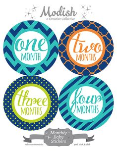 FREE GIFT, Baby Month Stickers Boy, Monthly Baby Stickers Boy, Belly to Baby Stickers, Baby Boy, Chevron, Orange, Teal, Blue, Green