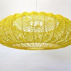 Yellow woven pendant light