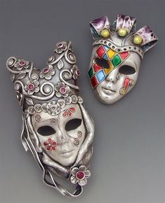 PMC metal masks with enamel by Joy Funnell