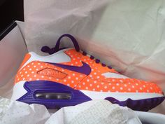 """My Clemson Nike's. The left shoe says """"Go"""" on the heel and the right says """"Tigers"""". I love them!"""